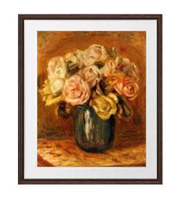 ルノワール Roses in a Blue Vase ばら アートフレーム サイズL:ブラウン 【油絵 直筆仕上げ 複製画】【油彩 布キャンバス 国内生産】 絵画 販売 静物画 651×541mm 送料無料 (ルノアール)