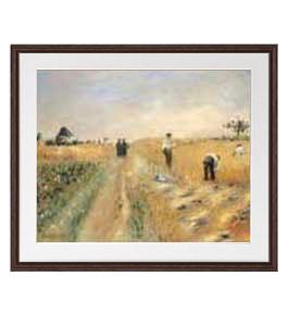 ルノワール The Harvesters アートフレーム サイズL:ブラウン 【油絵 直筆仕上げ 複製画】【油彩 布キャンバス 国内生産】 絵画 販売 風景画 651×541mm 送料無料 (ルノアール)