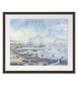 ルノワール The Bay of Naples アートフレーム サイズL:ブラウン 【油絵 直筆仕上げ 複製画】【油彩 布キャンバス 国内生産】 絵画 販売 風景画 651×541mm 送料無料 (ルノアール)