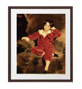 トーマス・ローレンス ランプトン少年像 アートフレーム サイズL:ブラウン 【油絵 直筆仕上げ 複製画】【油彩 布キャンバス 国内生産】 絵画 販売 人物画 651×541mm 送料無料