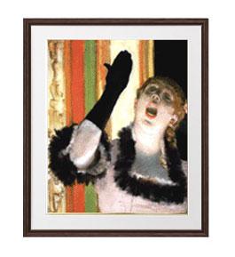 エドガー・ドガ カフェの歌い手 アートフレーム サイズL:ブラウン 【油絵 直筆仕上げ 複製画】【油彩 布キャンバス 国内生産】 絵画 販売 人物画 651×541mm 送料無料