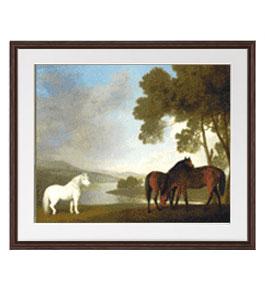 スタップス Two Bay Mares And A Grey Pony アートフレーム サイズL:ブラウン 【油絵 直筆仕上げ 複製画】【油彩 布キャンバス 国内生産】 絵画 販売 風景画 651×541mm 送料無料