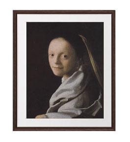 フェルメール 若い女の肖像 アートフレーム サイズL:ブラウン 【油絵 直筆仕上げ 複製画】【油彩 布キャンバス 国内生産】 絵画 販売 人物画 651×541mm 送料無料