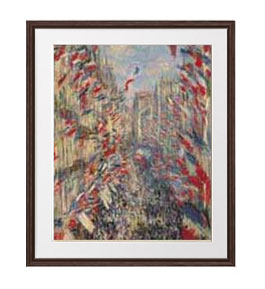 クロード・モネ モントルグイユ通り、1878年6月30日の祝日 アートフレーム サイズL:ブラウン 【油絵 直筆仕上げ 複製画】【油彩 布キャンバス 国内生産】 絵画 販売 風景画 651×541mm 送料無料