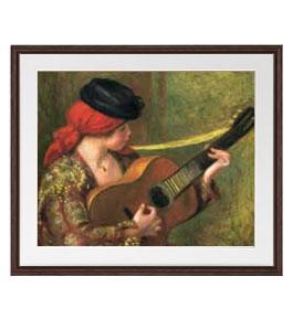 ルノワール ギターとスペインの女 アートフレーム サイズL:ブラウン 【油絵 直筆仕上げ 複製画】【油彩 布キャンバス 国内生産】 絵画 販売 人物画 651×541mm 送料無料 (ルノアール)