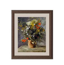 ルノワール Flowers in a Vase アートフレーム サイズS:ブラウン 【油絵 直筆仕上げ 複製画】【油彩 布キャンバス 国内生産】 絵画 販売 静物画 321×271mm 送料無料 (ルノアール)