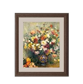 ルノワール Vase of Chrysanthemums アートフレーム サイズS:ブラウン 【油絵 直筆仕上げ 複製画】【油彩 布キャンバス 国内生産】 絵画 販売 静物画 321×271mm 送料無料 (ルノアール)