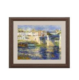 ルノワール Le Pont de Chatou アートフレーム サイズS:ブラウン 【油絵 直筆仕上げ 複製画】【油彩 布キャンバス 国内生産】 絵画 販売 風景画 321×271mm 送料無料 (ルノアール)