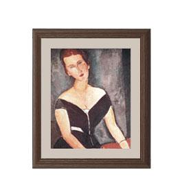 モディリアーニ ヴァン・ムイデン夫人の肖像 アートフレーム サイズS:ブラウン 【油絵 直筆仕上げ 複製画】【油彩 布キャンバス 国内生産】 絵画 販売 人物画 321×271mm 送料無料