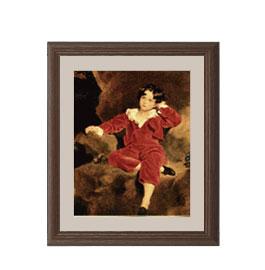 トーマス・ローレンス ランプトン少年像 アートフレーム サイズS:ブラウン 【油絵 直筆仕上げ 複製画】【油彩 布キャンバス 国内生産】 絵画 販売 人物画 321×271mm 送料無料