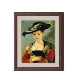 ルーベンス シュザンヌ・フールマンの肖像 アートフレーム サイズS:ブラウン 【油絵 直筆仕上げ 複製画】【油彩 布キャンバス 国内生産】 絵画 販売 人物画 321×271mm 送料無料