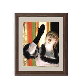 エドガー・ドガ カフェの歌い手 アートフレーム サイズS:ブラウン 【油絵 直筆仕上げ 複製画】【油彩 布キャンバス 国内生産】 絵画 販売 人物画 321×271mm 送料無料