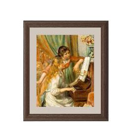 ルノワール ピアノに寄る少女たち アートフレーム サイズS:ブラウン 【油絵 直筆仕上げ 複製画】【油彩 布キャンバス 国内生産】 絵画 販売 人物画 321×271mm 送料無料 (ルノアール)