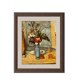 ポール・セザンヌ 青い花瓶 アートフレーム サイズS:ブラウン 【油絵 直筆仕上げ 複製画】【油彩 布キャンバス 国内生産】 絵画 販売 静物画 321×271mm 送料無料
