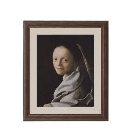 フェルメール 若い女の肖像 アートフレーム サイズS:ブラウン 【油絵 直筆仕上げ 複製画】【油彩 布キャンバス 国内生産】 絵画 販売 人物画 321×271mm 送料無料