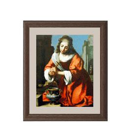 フェルメール Saint Praxidis アートフレーム サイズS:ブラウン 【油絵 直筆仕上げ 複製画】【油彩 布キャンバス 国内生産】 絵画 販売 人物画 321×271mm 送料無料