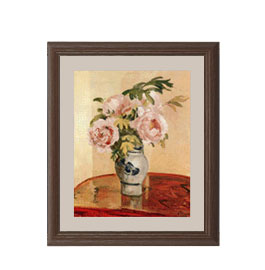 カミーユ・ピサロ Pink Peonies アートフレーム サイズS:ブラウン 【油絵 直筆仕上げ 複製画】【油彩 布キャンバス 国内生産】 絵画 販売 静物画 321×271mm 送料無料