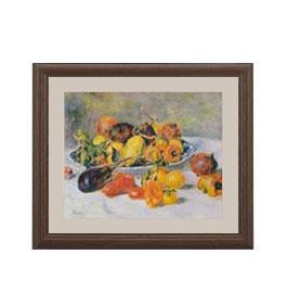ルノワール 南仏の果物 アートフレーム サイズS:ブラウン 【油絵 直筆仕上げ 複製画】【油彩 布キャンバス 国内生産】 絵画 販売 静物画 321×271mm 送料無料 (ルノアール)