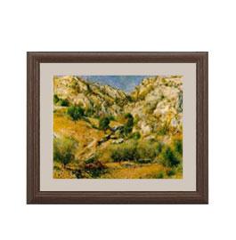 ルノワール Rocky Craggs at L'Estaque アートフレーム サイズS:ブラウン 【油絵 直筆仕上げ 複製画】【油彩 布キャンバス 国内生産】 絵画 販売 風景画 321×271mm 送料無料 (ルノアール)