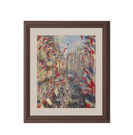 クロード・モネ モントルグイユ通り、1878年6月30日の祝日 アートフレーム サイズS:ブラウン 【油絵 直筆仕上げ 複製画】【油彩 布キャンバス 国内生産】 絵画 販売 風景画 321×271mm 送料無料
