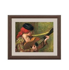 ルノワール ギターとスペインの女 アートフレーム サイズS:ブラウン 【油絵 直筆仕上げ 複製画】【油彩 布キャンバス 国内生産】 絵画 販売 人物画 321×271mm 送料無料 (ルノアール)