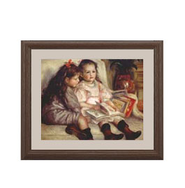 ルノワール ふたりの子供の肖像 アートフレーム サイズS:ブラウン 【油絵 直筆仕上げ 複製画】【油彩 布キャンバス 国内生産】 絵画 販売 人物画 321×271mm 送料無料 (ルノアール)