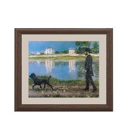 カイユボット リチャードギャロと彼の犬、プチジェヌヴィリエにて アートフレーム サイズS:ブラウン 【油絵 直筆仕上げ 複製画】【油彩 布キャンバス 国内生産】 絵画 販売 風景画 321×271mm 送料無料