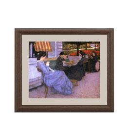 カイユボット 郊外の風景 アートフレーム サイズS:ブラウン 【油絵 直筆仕上げ 複製画】【油彩 布キャンバス 国内生産】 絵画 販売 人物画 321×271mm 送料無料