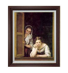 ムリーリョ Two Women at a Window F12 【油絵 直筆仕上げ 複製画】【油彩 国内生産 インテリア】絵画 販売 12号 人物画 ブラウン額縁 757×656mm 送料無料