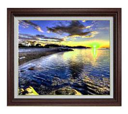 朝の海辺にて F12サイズ 【油絵 直筆仕上げ】【額縁付】 油彩 風景画 オリジナルインテリア絵画 風水画 ブラウン額縁 757×656mm 送料無料
