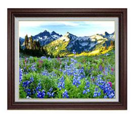 山麓の花々 F12サイズ 【油絵 直筆仕上げ】【額縁付】 油彩 風景画 オリジナルインテリア絵画 風水画 ブラウン額縁 757×656mm 送料無料