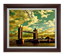 ロンドン橋を眺む F12サイズ 【油絵 直筆仕上げ】【額縁付】 油彩 風景画 オリジナルインテリア絵画 風水画 ブラウン額縁 757×656mm 送料無料