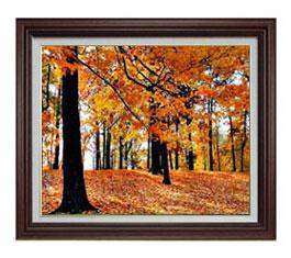 秋の情景 F12サイズ 【油絵 直筆仕上げ】【額縁付】 油彩 風景画 オリジナルインテリア絵画 風水画 ブラウン額縁 757×656mm 送料無料