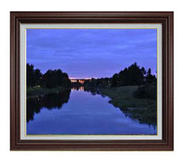 静謐なる湖畔 F12サイズ 【油絵 直筆仕上げ】【額縁付】 油彩 風景画 オリジナルインテリア絵画 風水画 ブラウン額縁 757×656mm 送料無料