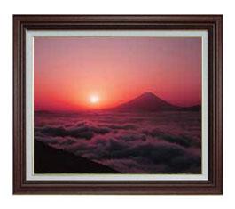 富士山 (1) F12サイズ 【油絵 直筆仕上げ】【額縁付】 油彩 風景画 オリジナルインテリア絵画 風水画 ブラウン額縁 757×656mm 送料無料