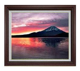 富士山 (2) F12サイズ 【油絵 直筆仕上げ】【額縁付】 油彩 風景画 オリジナルインテリア絵画 風水画 ブラウン額縁 757×656mm 送料無料