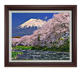 富士山-桜- F12サイズ 【油絵 直筆仕上げ】【額縁付】 油彩 風景画 オリジナルインテリア絵画 風水画 ブラウン額縁 757×656mm 送料無料