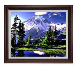 山麓と湖 F12サイズ 【油絵 直筆仕上げ】【額縁付】 油彩 風景画 オリジナルインテリア絵画 風水画 ブラウン額縁 757×656mm 送料無料