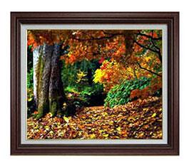 秋、深まる F12サイズ 【油絵 直筆仕上げ】【額縁付】 油彩 風景画 オリジナルインテリア絵画 風水画 ブラウン額縁 757×656mm 送料無料