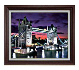 夜、ロンドン橋 F12サイズ 【油絵 直筆仕上げ】【額縁付】 油彩 風景画 オリジナルインテリア絵画 風水画 ブラウン額縁 757×656mm 送料無料