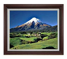 新緑、富士山 F12サイズ 【油絵 直筆仕上げ】【額縁付】 油彩 風景画 オリジナルインテリア絵画 風水画 ブラウン額縁 757×656mm 送料無料