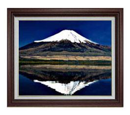 富士山(3) F12サイズ 【油絵 直筆仕上げ】【額縁付】 油彩 風景画 オリジナルインテリア絵画 風水画 ブラウン額縁 757×656mm 送料無料