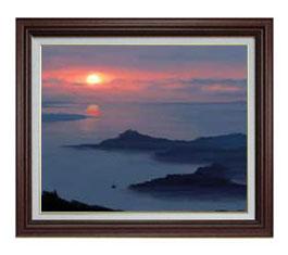 静謐の海 F12サイズ 【油絵 直筆仕上げ】【額縁付】 油彩 風景画 オリジナルインテリア絵画 風水画 ブラウン額縁 757×656mm 送料無料