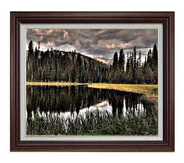 森浴の湖畔 F12サイズ 【油絵 直筆仕上げ】【額縁付】 油彩 風景画 オリジナルインテリア絵画 風水画 ブラウン額縁 757×656mm 送料無料