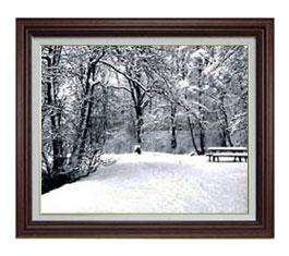 樹氷 F12サイズ 【油絵 直筆仕上げ】【額縁付】 油彩 風景画 オリジナルインテリア絵画 風水画 ブラウン額縁 757×656mm 送料無料