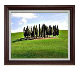 広陵の木々 F12サイズ 【油絵 直筆仕上げ】【額縁付】 油彩 風景画 オリジナルインテリア絵画 風水画 ブラウン額縁 757×656mm 送料無料