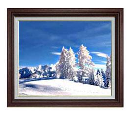 冬の幻想 F12サイズ 【油絵 直筆仕上げ】【額縁付】 油彩 風景画 オリジナルインテリア絵画 風水画 ブラウン額縁 757×656mm 送料無料
