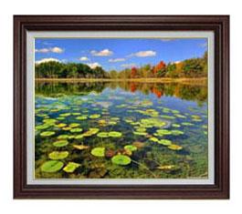 追憶の湖 F12サイズ 【油絵 直筆仕上げ】【額縁付】 油彩 風景画 オリジナルインテリア絵画 風水画 ブラウン額縁 757×656mm 送料無料