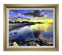 朝の海辺にて F12サイズ 【油絵 直筆仕上げ】【額縁付】 油彩 風景画 オリジナルインテリア絵画 風水画 ゴールド額縁 757×656mm 送料無料