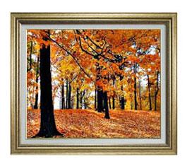 秋の情景 F12サイズ 【油絵 直筆仕上げ】【額縁付】 油彩 風景画 オリジナルインテリア絵画 風水画 ゴールド額縁 757×656mm 送料無料